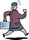 A clip-art drawing of a lady running.