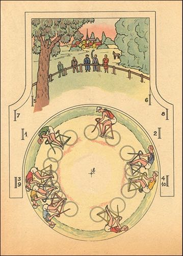 A drawing of old-time cyclers.